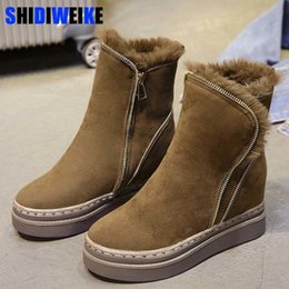 Black Platform Snow Boots Australia - Woman Boots Platform Winter Warm Fur Snow Boots Wedge 2019 Faux Suede Leather Snowboots Zipper Ankle Boots Winter Shoes n475