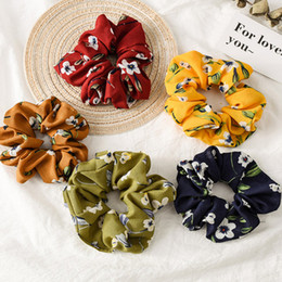 Stretchy ponytailS online shopping - Spring Flower Headbands Hair Scrunchies Ponytail Holder Soft Stretchy Hair Ties Vintage Elastics Bands for Girls Accessories