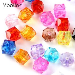 White Acrylic Cubes Wholesale Australia - 100pcs pack Acrylic Square Loose Beads 10mm Faceted Clear Cube Beads DIY Jewelry Findings Fit Beading Bracelet Craft Making