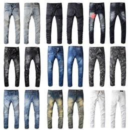 Vente en gros Balmain Jeans Hommes Slim Fit Jeans Hommes Ripped Salut-rue Hommes Distressed Denim Joggers trous de genou Washed Détruit 22 style de couleur Jeans