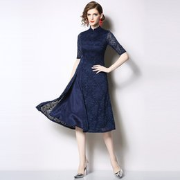 Summer Street Fashion Vintage Dresses Australia - Vintage Lace Dress Women 2019 Spring Summer Chinese Style Fashion Elegant A-Line Ladies Party Dresses vestido Red Blue T190605