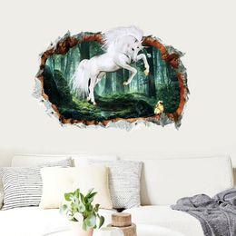 $enCountryForm.capitalKeyWord Australia - 3D three-dimensional hole wall stickers forest unicorns explosion models creative wall stickers creative fashion home cartoon popular cute