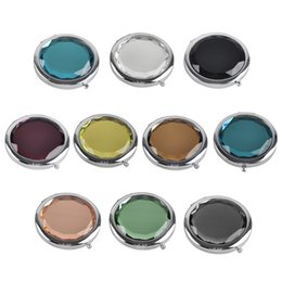 $enCountryForm.capitalKeyWord NZ - Double-sided Mirror Women Foldable Pocket Makeup Mirrors Lady Cosmetic Hand Folding Portable Magnifying Mirror Beauty Tool