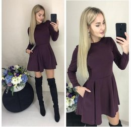 Flared Red Dress Australia - Spring New Casual Women O-neck Fit and Flare Pockets Long Sleeve Mini Cute Party Dress Black Red Wine red color Vestidos