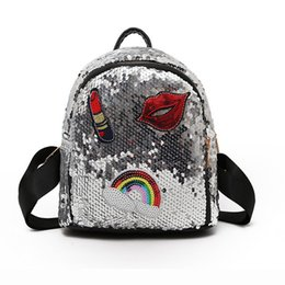 Lipstick For Girls UK - 2019 New Fanshion bag for girls Small hologram bag Sequins Laser with sparkles lips Lipstick children's backpacks for girls mochila escolar