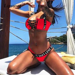 $enCountryForm.capitalKeyWord NZ - S-XXL Sexy Letter Printed Brazilian Bikini Swimwear Women Push Up Bikini Set Female Swimsuit Lace Up Bather Bathing Suit Biquini