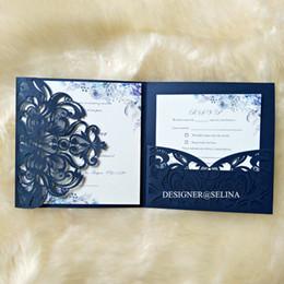 $enCountryForm.capitalKeyWord Australia - Navy Blue Floral Laser Cut Pocket Wedding Invitation 20+Color DIY Invitations for Bridal Shower Printable Quinceanera Invitation+RSVP Card