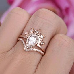 $enCountryForm.capitalKeyWord Australia - Exquisite Luxury 18 K Rose Gold Plated Pear Cut White Sapphire Diamond Women Wedding Ring Size 5 - 12