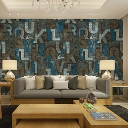 stylish room wallpaper UK - beibehang American nostalgia personalized letter wallpaper simple and stylish living room wallpaper cafe bars KTV personality