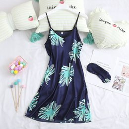 cute summer pajamas 2019 - AEOZRING nightgown women's summer thin ice cute sexy camisole sleeping skirt summer pajamas women's home cloth