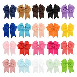 "$enCountryForm.capitalKeyWord Australia - Wholesale 6"" Large Cheer Bow Baby Girl Solid Ribbon Cheer Bows With Alligator Clip Handmade Girls Cheerleading Bows DHL FJ394"