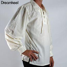 Shirts Stand Up Collars Australia - 2019 NEW Men Medieval Renaissance Viking Cosplay Costume Top Tunic Tudor Lacing Up Stand Collar Bandage Black White Shirt Y
