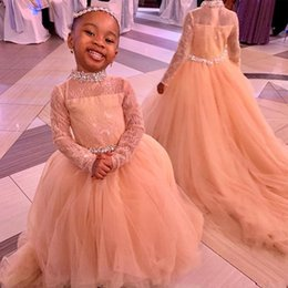 cute little girls wearing dresses Canada - Cute Lace Tulle Flower Girls Dresses with Long Sleeve High Neck Crystal Sash Little Girls Birthday Party Gown Lace Top Formal Wear