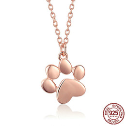 925 cat pendant online shopping - 925 Sterling Silver Rose Gold Color Animal Footprint Dog Cat Footprints Paw Necklaces Pendants Women Jewellry jewelry for new year