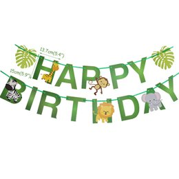 cartoon bunting NZ - Birthday Jungle Party Cartoon Animal Bunting Banner Safari Zoo Lion Monkey Happy Birthday Decorations Kids Garland Paper Flag