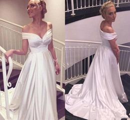 $enCountryForm.capitalKeyWord Australia - Simple A Line Wedding dresses Short sleeves Floor Length Plus size Wedding Bridal Gown 2019 Cheap