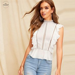 ruffle back blouse Australia - Boho Lace Ruffle White Buttoned Back Peplum Top Cap Sleeve Solid Lace Blouse Women Mock-Neck 2019 Summer Workwear Blouses