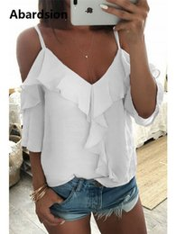 women satin blouse Australia - Abardsion Off Shoulder Top Blouse Women Half Sleeve Spaghetti Strap Ruffle Womens Tops And Blouses Summer 2019 White Shirt Blusa MX190712