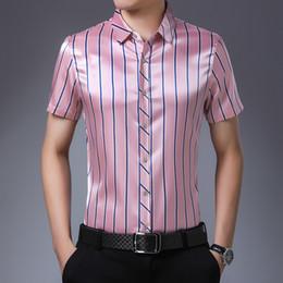 Wholesale british plus size clothing for sale – plus size Silk Pink Shirts Mens Fashion Shirts Summer Blue Dress British Style Mens Plus Size Clothing Workwear Office