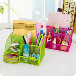 Metal Drawers Australia - Multi-function Metal Iron desk organizer makeup storage box with drawer Stationery pen holder Office Supplies home