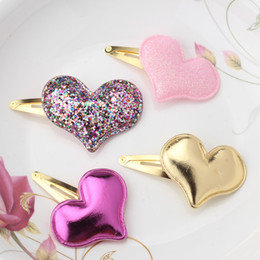 Shiny Hair Color Australia - New Arrival Summer Style Metal Color Children Shiny Star Hairgrips Baby Hairpins Girls Hair Accessories Heart Star Hair Clip 50pcs