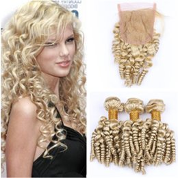 $enCountryForm.capitalKeyWord Australia - #613 Blonde Aunty Funmi Russian Hair 3Bundles with Closure 4Pcs Lot Romance Curls Blonde Human Hair 4x4 Lace Front Closure with Weaves