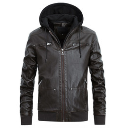 Wholesale fleece hooded leather jacket for sale - Group buy Leather Jacket Hooded Mens Biker Motorcycle Jackets Autumn Winter Coats Faux Leather Tops Warm Outerwear Overcoat New Fashion
