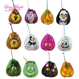 Childrens Party Bags Wholesale NZ - 12Pcs Halloween Candy Trick or Treat Bags Pumpkin Skull Cat Halloween Decorations Childrens Portable Candy Bags Party Supplies