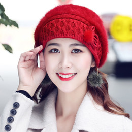 b12060d5b916c New Autumn Winter Women Hats Caps Rabbit Fur Berets Warm For Mother Hat Cap  Fashion Solid Beret