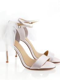 $enCountryForm.capitalKeyWord NZ - 2019 new fashion shoes white bridal veil bowtie ankle strap stiletto heels women sandals peep toes zapatos feminino sandalia wedding shoes