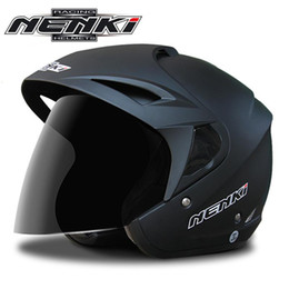a6a21111 NENKI N629 Motorcycle Helmet Half Face Motor Scooter Cruiser Touring  Chopper Helmet Cycling Casque with Dual Lens