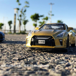 Discount diecast model race cars - Simulation of Nissan GTR Children's Acousto - Optic Backforce Alloy Car Model Pull Back Flashing Musical Diecast ra
