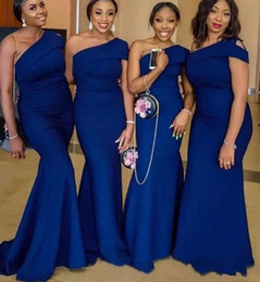 $enCountryForm.capitalKeyWord Australia - Simple Blue One Shoulder Mermaid Bridesmaid Dresses Sweep Train African Wedding Guest Gowns Custom Made Maid Of Honor Dresses Plus Size