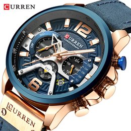 men watch leather curren Australia - CURREN Watch Mens Watches Top Brand Luxury Men Casual Leather Waterproof Chronograph Men Sport Quartz Clock Relogio Masculino by bbwatch