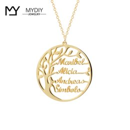 customize necklaces Australia - Statement Family Tree Necklace For Family Customized Name Gold Color 925 Sterling Silver Personalized Jewelry Men Christmas Gift