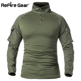Military Gears NZ - Refire Gear Men Army Tactical T Shirt Swat Soldiers Military Combat T-shirt Long Sleeve Camouflage Shirts Paintball T Shirts 5xl J190613