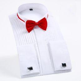 Bridegroom Wedding Shirt Australia - The Newest France Cuff Tuxedo Shirts Slim Fit Long Sleeve Bridegroom Wedding Party Men Dress Shirt With Tie Free Of Charge