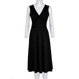 3fd3b408ada Women s Casual Fashion Simple Dress Comfortable V-neck Summer Dresses  Sleeveless Waist Loose Dress Sling Slim Black Hot