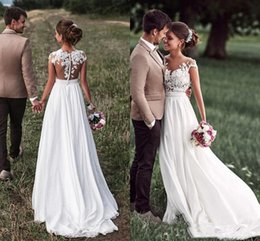 $enCountryForm.capitalKeyWord Australia - Rustic Style Country Wedding Dresses A Line New 2019 Top Lace Applique Cheap Chiffon Illusion Long Beach Boho Bridal Gowns Wedding Dress