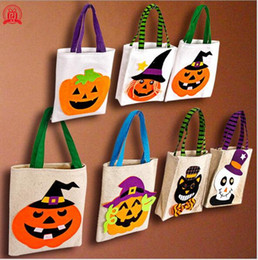 $enCountryForm.capitalKeyWord Australia - 2020 Hot Sale Halloween Gift Bags Large Cotton Canvas Hand Bags Pumpkin,Devil,Spider Printed Halloween Candy Gift Bags