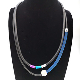 Discount necklace pipes - YD&YDBZ NEW Young Women Fashion Choker Necklace Blue Lace Pipe Fake Pearl Pendant Necklace Trendy Color Aluminum Tube Ne