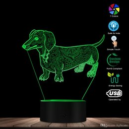 Lovers Lamp online shopping - Cute Temperament Abstract Dachshund Dog Custom Name D Optical Illusion Light Glowing LED Lamp Pet Lover Owner Lighting Gift