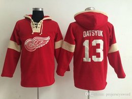pavel datsyuk jersey cheap Australia - Youth Hockey Jersey Cheap, Detroit Red Wings Hoodie #13 Pavel Datsyuk Stitched Embroidery Logos Hoodies Sweatshirts Any Name and Number