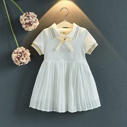 Wholesale Polo Neck Australia - Little Girls Polo Collar Knotted Tie Cotton Ruffles Dresses A-line Short-sleeved Summer Quality Child Girls Clothing Outfits 3-8T
