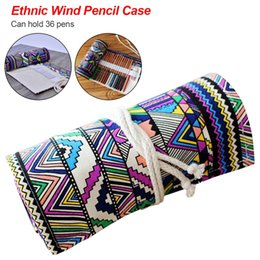 $enCountryForm.capitalKeyWord NZ - 36 Slots Ethnic style Roll Up Cartoon Canvas Bag Curtain Ball Pen Box 36 Holes Pencil Case Stationery School Supplies