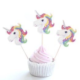 Wholesale 24Pcs Cute Unicorn Cupcake Topper Pick Wedding Decoration Baby Shower Birthday Party Supplies Cake Baking Party Decoration