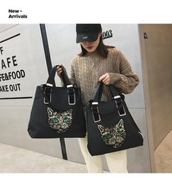 Discount casual side bag - Cat Sequin Shoulder Bag Cross Body zipper Fabric bag Travel bag fashion cartoon single shouder handbag Cat Front Side LJ