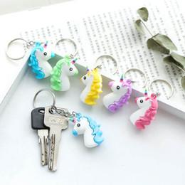 $enCountryForm.capitalKeyWord Australia - Cute Cartoon 3D Anime Soft Silicone Unicorn Keychain Women Men Kids Bag Charm Key Chain Key Ring Pendant Key Holder