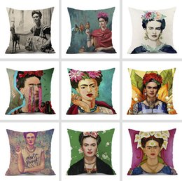 frida kahlo prints 2019 - New Frida Kahlo self-portrait Art Cushion Covers Oil Paintings Frida Flower Cushion Cover Sofa Throw Decorative Linen Co