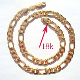 $enCountryForm.capitalKeyWord NZ - 18k Solid Gold Plated AUTHENTIC FINISH 18k stamped 10mm fine Figaro Chain necklace Made In Best